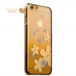 Пластиковый чехол-накладка для iPhone 6S / 6 KINGXBAR со стразами Swarovski 50H, цвет золотистый Роза