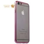 Супертонкий силиконовый чехол для iPhone 6S Plus/ 6 Plus, цвет прозрачный с розовым ободком