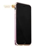 Алюминиевый бампер для iPhone 6S / 6 Fashion Case, цвет сиреневый с золотистый полоской
