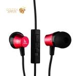 Вакуумные наушники вкладыши с микрофоном Hoco EPM02 Common Headphone With Mic Red, цвет красный