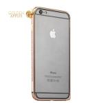 Алюминиевый бампер для iPhone 6S Plus / 6 Plus COTEetCI- CS1988-CEG, цвет золотистый с золотыми кристаллами