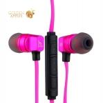 Вакуумные наушники вкладыши с микрофоном Hoco EPV02 Wire Headphone Pink, цвет розовый