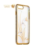 Чехол-накладка Kingxbar для iPhone 8 Plus пластик со стразами Swarovski 50H золотистый (Orchid) Орхидея