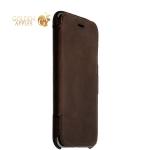 Кожаный чехол-книжка для iPhone 6S / 6 Valenta Booklet Classic Style Сrazy Vintage, цвет темно-коричневый