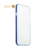 Силиконовый чехол-накладка для iPhone 8 ICSES, цвет прозрачный (синий борт)