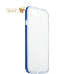 Силиконовый чехол-накладка для iPhone 7 ICSES, цвет прозрачный (синий борт)