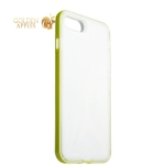 Силиконовый чехол-накладка для iPhone 8 Plus ICSES, цвет прозрачный (салатовый борт)