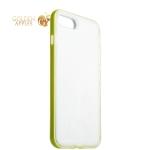 Силиконовый чехол-накладка для iPhone 7 Plus ICSES, цвет прозрачный (салатовый борт)