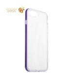 Силиконовый чехол-накладка для iPhone 8 Plus ICSES, цвет прозрачный (фиолетовый борт)