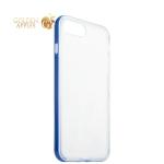 Силиконовый чехол-накладка для iPhone 7 Plus ICSES, цвет прозрачный (синий борт)