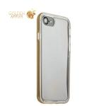 Силиконовый чехол-накладка для iPhone 7 ICSES, цвет прозрачный (золотистый борт)