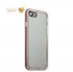Силиконовый чехол-накладка для iPhone 7 ICSES, цвет прозрачный (борт розовое золото)