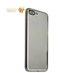 Супертонкий силиконовый чехол-накладка для iPhone 7 Plus TAJA, цвет прозрачный (серебристый ободок)