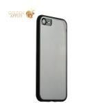 Супертонкий пластиковый чехол-накладка для iPhone 7 ICSES, цвет прозрачный (черный борт)