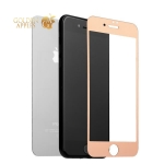 Зеркальное глянцевое защитное стекло для iPhone 7 Plus / 8 Plus (2в1) Rose gold, цвет розовое золото