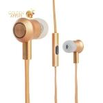 Вакуумные наушники вкладыши с микрофоном Hoco M7 Universal Metal Earphone Gold, цвет золотистый