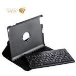 Чехол клавиатура LAB для iPad 4 / 3 / 2 Bluetooth Keyboard Leather Case (РУС-ENG) с рифленой поверхностью, цвет черный