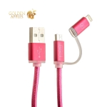 Lightning & microUSB кабель COTEetCI M9 NYLON series (2в1) (CS2112-MR) (1.0 м), цвет красный