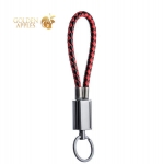 MicroUSB кабель брелок COTEetCI M33 FASHION series Keychain Cable CS2146-BR (0.25 м), цвет черный / красный