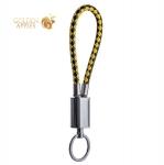 Type-C кабель брелок COTEetCI M35 FASHION series Keychain Cable CS2147-BY (0.25 м), цвет черный / желтый
