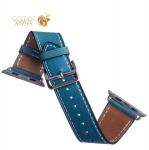 Кожаный ремешок для Apple Watch (44 mm) COTEetCI W8 DECOROUS (WH5208-BL) классическая пряжка Marine Blue, цвет голубой