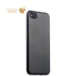 Силиконовый чехол-накладка для iPhone 7-Deppa Gel Plus Case (D-85253) (0.9 мм), цвет прозрачный (черный глянцевый борт)
