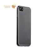 Силиконовый чехол-накладка для iPhone 7-Deppa Gel Plus Case (D-85255) (0.9 мм), цвет прозрачный (графитовый глянцевый борт)
