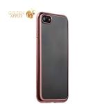 Силиконовый чехол-накладка для iPhone 7-Deppa Gel Plus Case (D-85257) (0.9 мм), цвет прозрачный (розовое золото глянцевый борт)