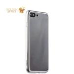 Силиконовый чехол-накладка для iPhone 7 Plus-Deppa Gel Plus Case (D-85255) (0.9 мм), цвет прозрачный (серебристый глянцевый борт)