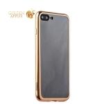 Силиконовый чехол-накладка для iPhone 7 Plus-Deppa Gel Plus Case (D-85261) (0.9 мм), цвет прозрачный (золотистый глянцевый борт)