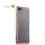 Силиконовый чехол-накладка для iPhone 7 Plus-Deppa Gel Plus Case (D-85262) (0.9 мм), цвет прозрачный (розовое золото глянцевый борт)