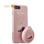 Силиконовый чехол-накладка для iPhone 8 Plus iBacks Lady's 2-piece Suit + набор Бегущий Кот зеркало & гребень, цвет розовый