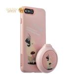 Набор iBacks Lady's 2-piece Suit - Собака Молния зеркало & гребень & накладка для iPhone 7 Plus (5.5) - (ip70016) Розовый