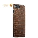 Кожаный чехол-накладка для iPhone 8 Plus XOOMZ Electroplating Crocodile Embossed Genuine, цвет коричневый
