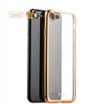 Силиконовый чехол-накладка для iPhone 8-Deppa Gel Plus Case D-85284 (0.9 мм), цвет прозрачный (золотистый борт)