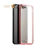 Силиконовый чехол-накладка для iPhone 7-Deppa Gel Plus Case D-85285 (0.9 мм), цвет прозрачный (борт розовое золото)