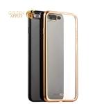 Силиконовый чехол-накладка для iPhone 7 Plus-Deppa Gel Plus Case D-85289 (0.9 мм), цвет прозрачный (золотистый борт)