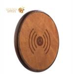 Беспроводное зарядное устройство iCarer Genuine Leather Fast Wireless charging (5-9V-1A), цвет коричневый