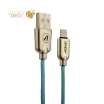 Lightning кабель USB Aspor Kirsite А117 в тканевой оплётке 2.4A (1.2 м), цвет мятный