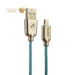 MicroUSB кабель Aspor Kirsite А116 (1.2 м) в тканевой оплётке (2.4A), цвет мятный