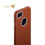 Накладка кожаная iCarer для iPhone SE (2020г.) Transformer Real Leather Woven Pattern Back Cove (RIP710br) Коричневая