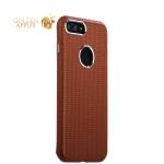 Кожаный чехол-накладка для iPhone 8 Plus iCarer Transformer Real Leather Woven Pattern Back Cove (RIP7010br), цвет коричневый
