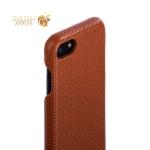 Накладка кожаная iCarer для iPhone SE (2020г.) Woven Pattern Series Real Leather Charging Connector (RIP711br) Коричневая