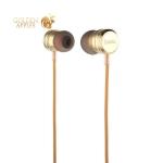 Вакуумные наушники вкладыши с микрофоном Hoco M16 Ling Sound Metal Universal Earphone with mic (1.2 м) Gold, цвет золотистый