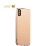 Силиконовый чехол-накладка для iPhone XS J-Case Shiny Glazed Series (0.5 мм) Jet Gold, цвет золотистый