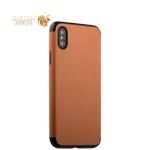 Силиконовый чехол-накладка для iPhone XS J-Case Jack Series (с магнитом), цвет светло-коричневый