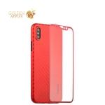 Пластиковый чехол-накладка для iPhone XS Coblue 4D Glass & Carbon Case (2в1), цвет красный