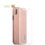 Пластиковый чехол-накладка для iPhone XS Coblue 4D Glass & Carbon Case (2в1), цвет розовый