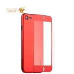 Супертонкий силиконовый чехол-накладка для iPhone 7 Coblue Slim Series PP Case & Glass (2в1), цвет Красный