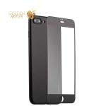 Супертонкий силиконовый чехол-накладка для iPhone 8 Plus Coblue Slim Series PP Case & Glass (2в1), цвет черный